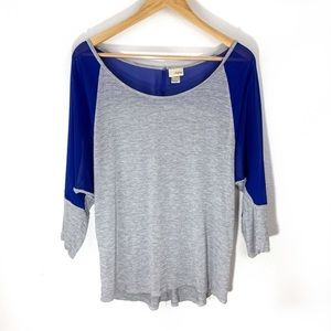 Daytrip | 3/4 sleeve grey and blue mesh top size L
